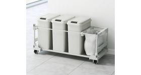 扉面材対応 ゴミ箱ワゴン(20L袋用)3個 DWPS-906
