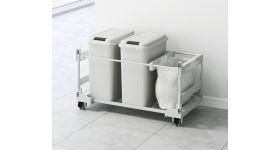 扉面材対応 ゴミ箱ワゴン(20L袋用)2個 DWPS-756