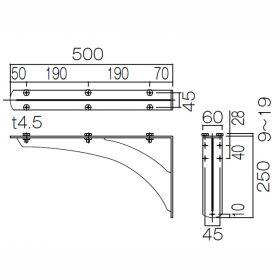 カウンター用ブラケットD600用 KH-340WB寸法図